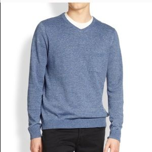Vince Pocket Linen V Neck Pullover Sweater